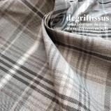 Tissu Jacquard écossais, madras gris beige