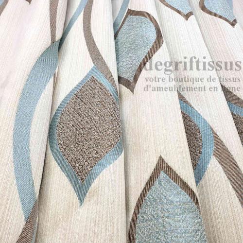Tissu ameublement - Art Déco à feuilles - Ameublement tissé Jacquard - degriftissus.com