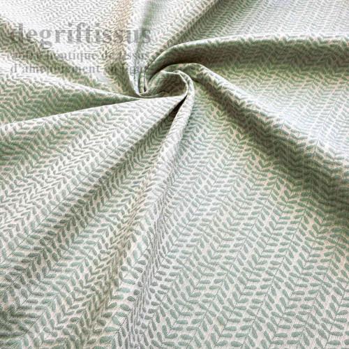 Tissu ameublement - Art Déco à petites feuilles vertes - Ameublement tissé Jacquard - degriftissus.com