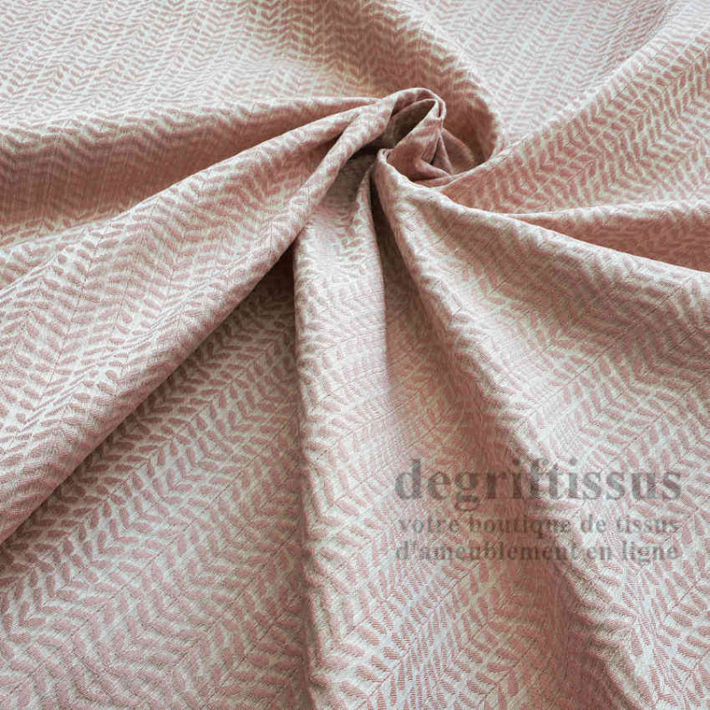 Tissu ameublement - Art Déco à petites feuilles roses - Ameublement tissé Jacquard - degriftissus.com