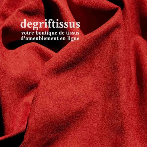 Tissu d'ameublement - Daim suédine brique - pour fauteuil - canapé - banquette - chaise - tête de lit - degriftissus.com