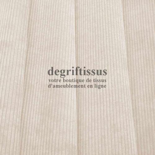 Velours côte écru Dégriftissus vous propose ce tissu d'ameublement velours fine côte, pour chaises, fauteuils, tête de lit, can