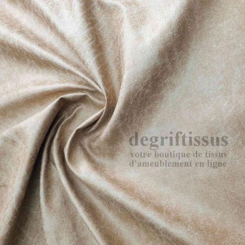 Tissu d'ameublement - cuir vieilli crème - Dégrif' tissus