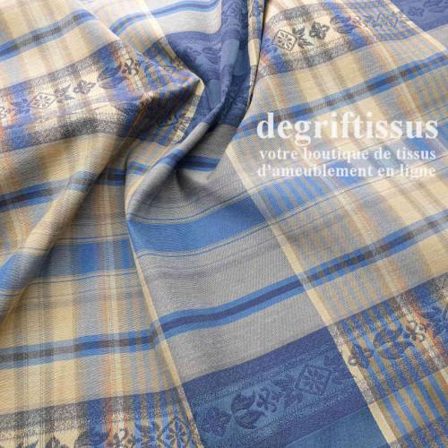 Tissu Jacquard écossais double face, bleu Dégriftissus vous propose ce tissu d'ameublement écossais bleu.