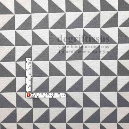 Tissus ameublement - Triangles écrus et gris - fauteuil - chaises - coussins - canapé - degriftissus.com