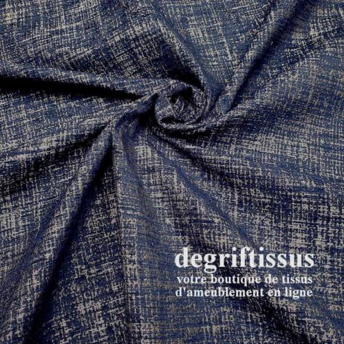 Tissu ameublement - Marine strié argenté - siège - coussin - chaise - fauteuil - rideau - degriftissus.com