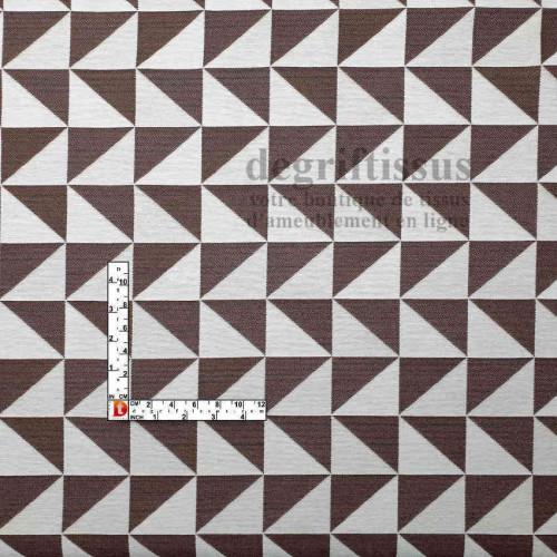 Tissus ameublement - Triangles écrus et terre brûlée - fauteuil - chaises - coussins - canapé - degriftissus.com