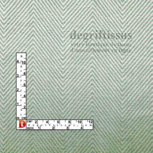 Tissus ameublement - Jacquard - chevrons vert eau - siège - fauteuil - coussin - chaise - degriftissus.com