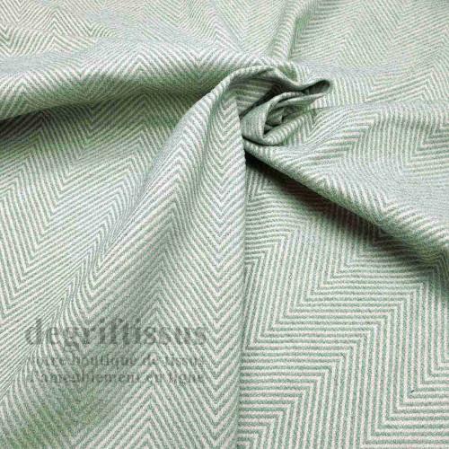 Tissu ameublement - Jacquard - chevrons vert eau - siège - fauteuil - coussin - chaise - degriftissus.com