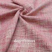 Tissu ameublement tissé Jacquard, hachuré rose - siège - chaise - fauteuil - canapé - double rideau - degriftissus.com