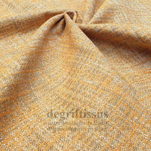 Tissu ameublement tissé Jacquard, hachuré orange - siège - chaise - fauteuil - canapé - double rideau - degriftissus.com