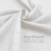 Tissus ameublement - Imitation lin anti-tache blanc - pour siège - fauteuil - coussin - rideau - nappe - degriftissus.com