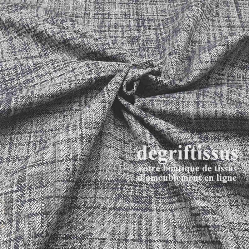 Tissu ameublement tissé Jacquard, hachuré gris bleuté - siège - chaise - fauteuil - canapé - double rideau - degriftissus.com